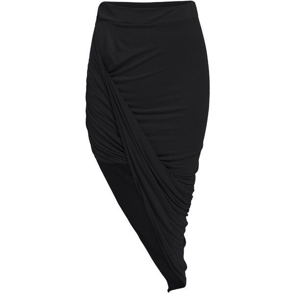 Black Slim Bodycon Asymmetrical Skirt ($9.90) ❤ liked on Polyvore featuring skirts, bottoms, faldas, black, long skirts, black skirt, full length skirt, slimming skirts and black body con skirt