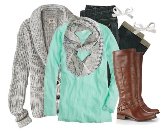 Great grey sweater, mint shirt, patterned scarf, jeans and riding boots. Comfy fall runabout outfit!