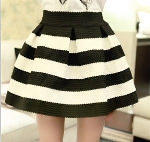 Европейский 2016 весной черный и белый полосатый талия взрослых женщин плиссированные бахрома юбка  юбки женские юбка женская юбка для девочек юбка женская черная короткая юбка в полоску один размер