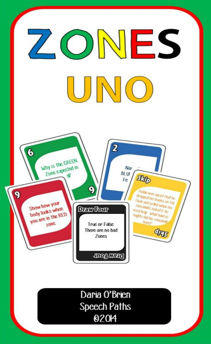 Reinforce the Zones of Regulation concepts with the game everyone loves--UNO!