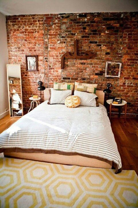 This exposed brick wall is wallpaper would you believe? #wallpaper  Such a great idea, I'm going to miss having a brick wall in the house.: