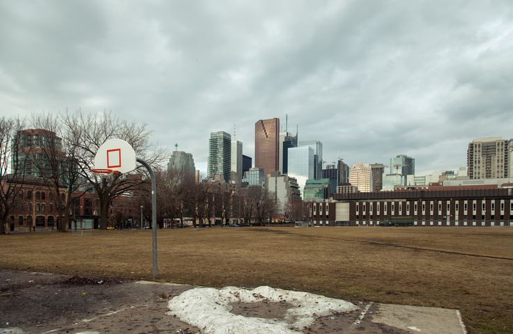 Toronto skyline seen from a muddy Moss Park https://www.picturedashboard.com