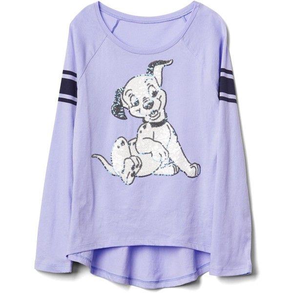 GapKids Disney embellished hi-lo raglan tee ($14) ❤ liked on Polyvore featuring tops, t-shirts, embellished tee, raglan sleeve t shirt, raglan tees, raglan sleeve tee and raglan top