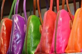 Colourful leather bags from Florence