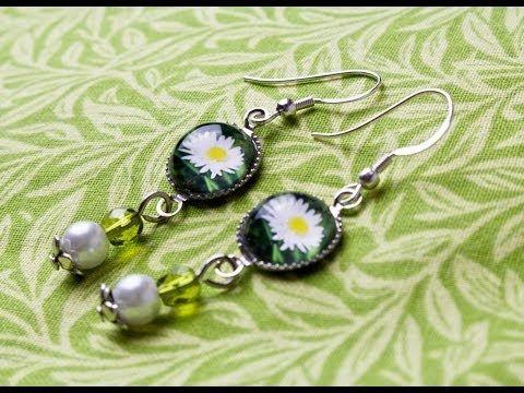 Schmuck selbst gestalten: Cabochon-Ohrringe DIY - eine Geschenkidee für die Freundin / Mama / Oma - YouTube