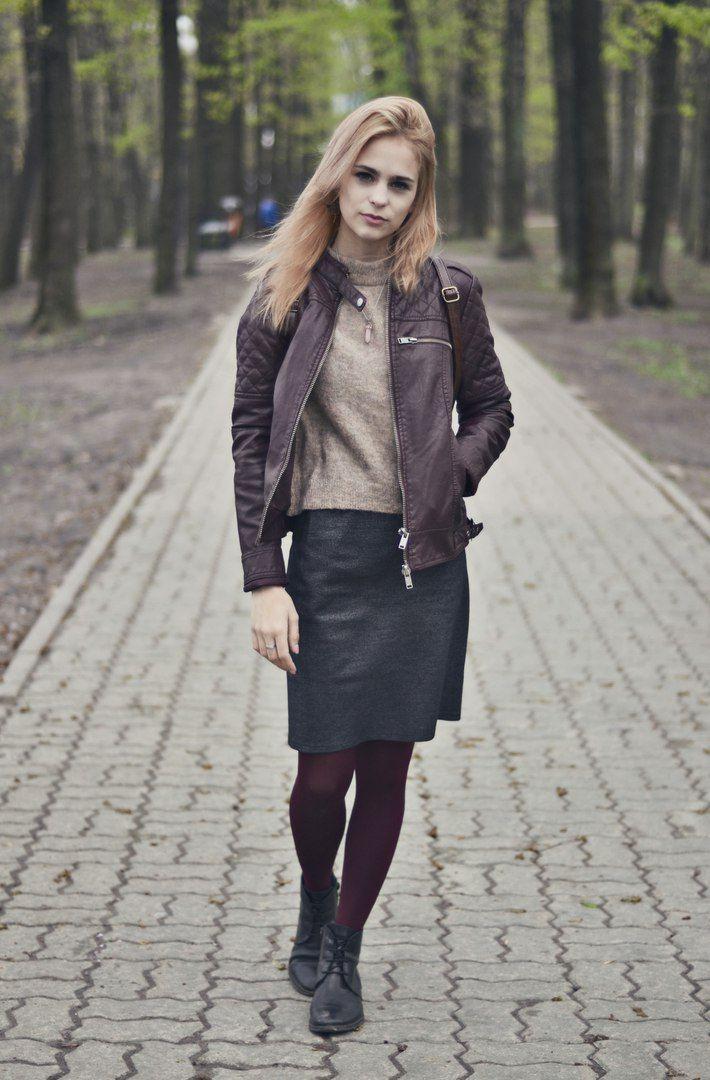 Burgundy leather jacket, rose blonde