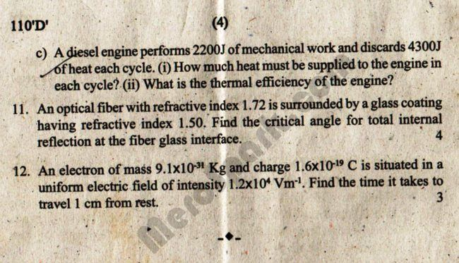Old Question Paper 2072 (2015) – Physics Class 11 | Download