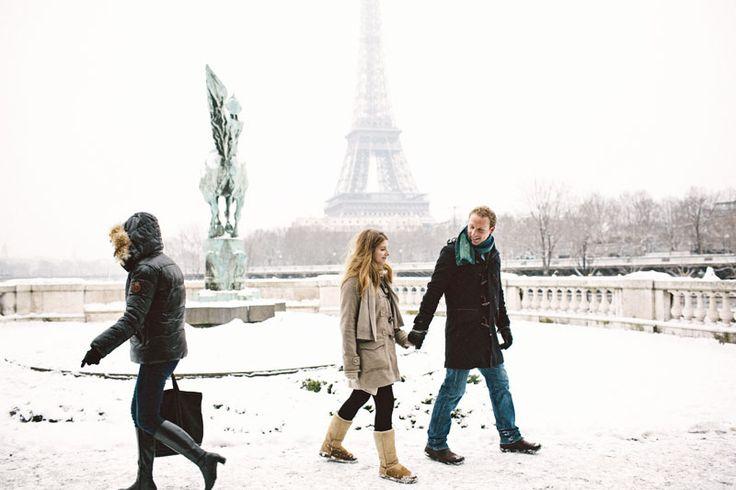 Preboda en la nieve - preboda en paris - engagement in snow - paris engagement - sara lazaro