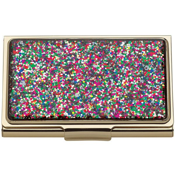 kate spade new york Simply Sparkling Card Holder - Multi ($50) ❤ liked on Polyvore featuring bags, wallets, multi, multi color wallet, kate spade, multicolor bag, sparkle wallet and metal card holder wallet