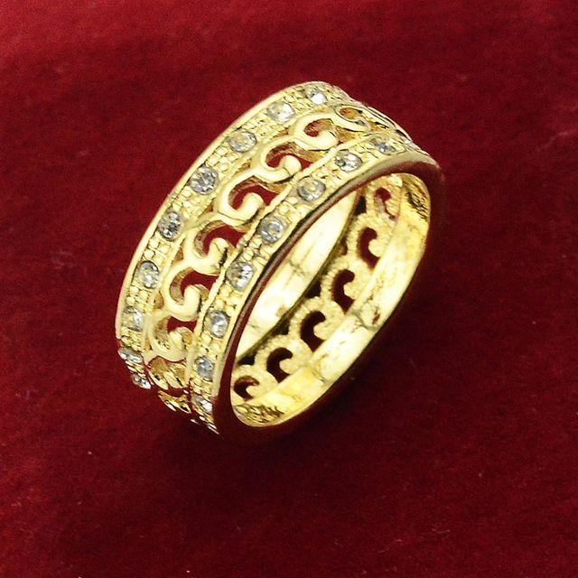 Unisex Amarelo Banhado A Ouro Anéis Preenchidos Muitos CZ Cristal Wedding Party Rodada Anéis Islão No Oriente médio