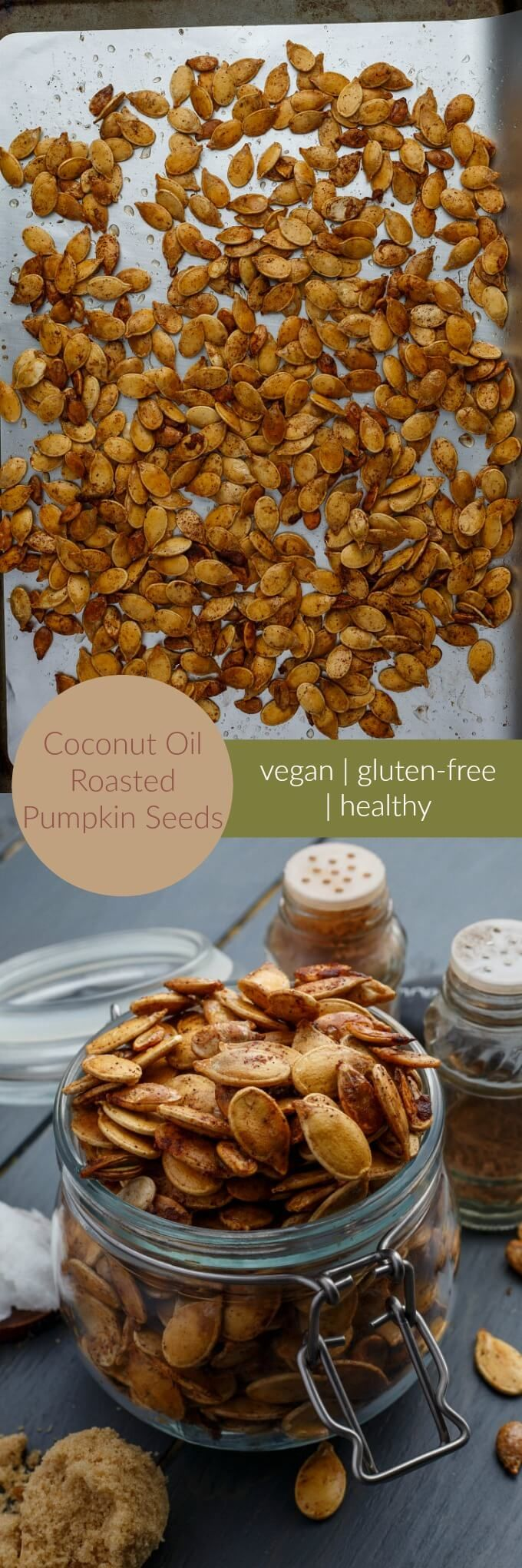 Coconut Oil Roasted Pumpkin Seeds | http://thecookiewriter.com | @thecookiewriter | #pumpkin #vegan | Healthier than the traditional route (but go ahead and use butter if you like!) these coconut oil roasted pumpkin seeds are vegan and gluten-free!
