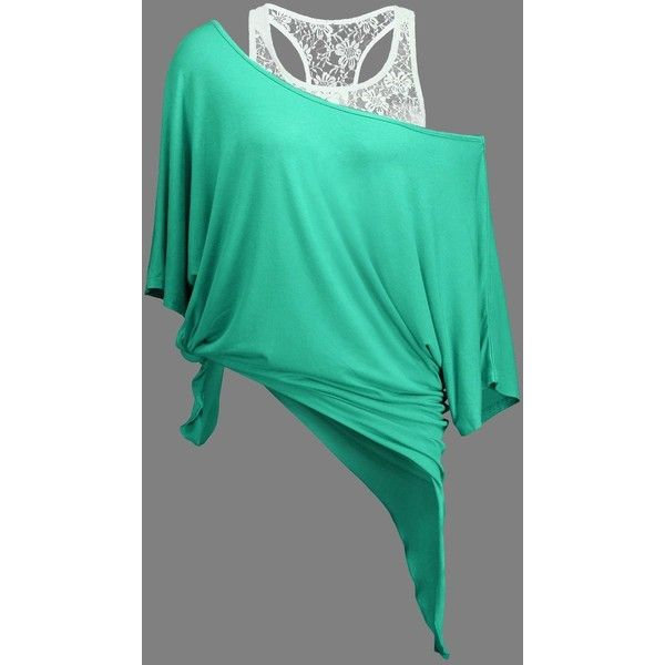 Handkerchief Batwing T Shirt with Lace Tank Top ($11) ❤ liked on Polyvore featuring tops, green tank, green tank top, lacy tank tops, green top and lace batwing top