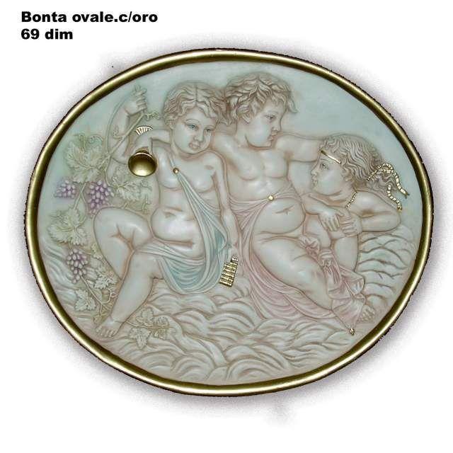 Bonta ovale decorata in oro foglia