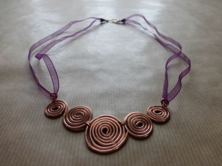 Hammered Copper Spirals Necklace by TheCatAndTheClasp on Etsy