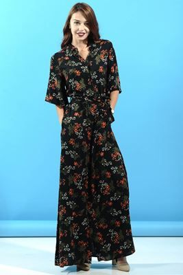 Detayları Göster Turuncu Çiçek Desenli Uzun Elbise