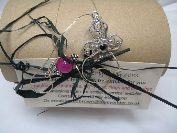Pendant Cross Necklace  Fuchsia Charm Bead by KBrownJewellery, £24.00