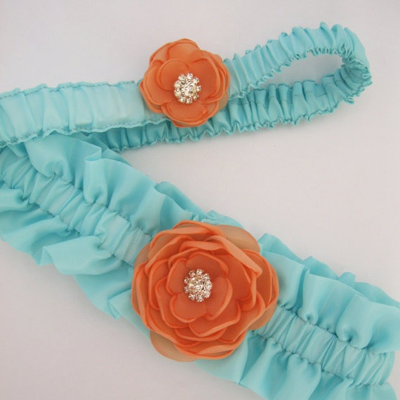 Wedding Garter Turquoise Blue and Tangerine Wedding by HARTfeltart, $38.00