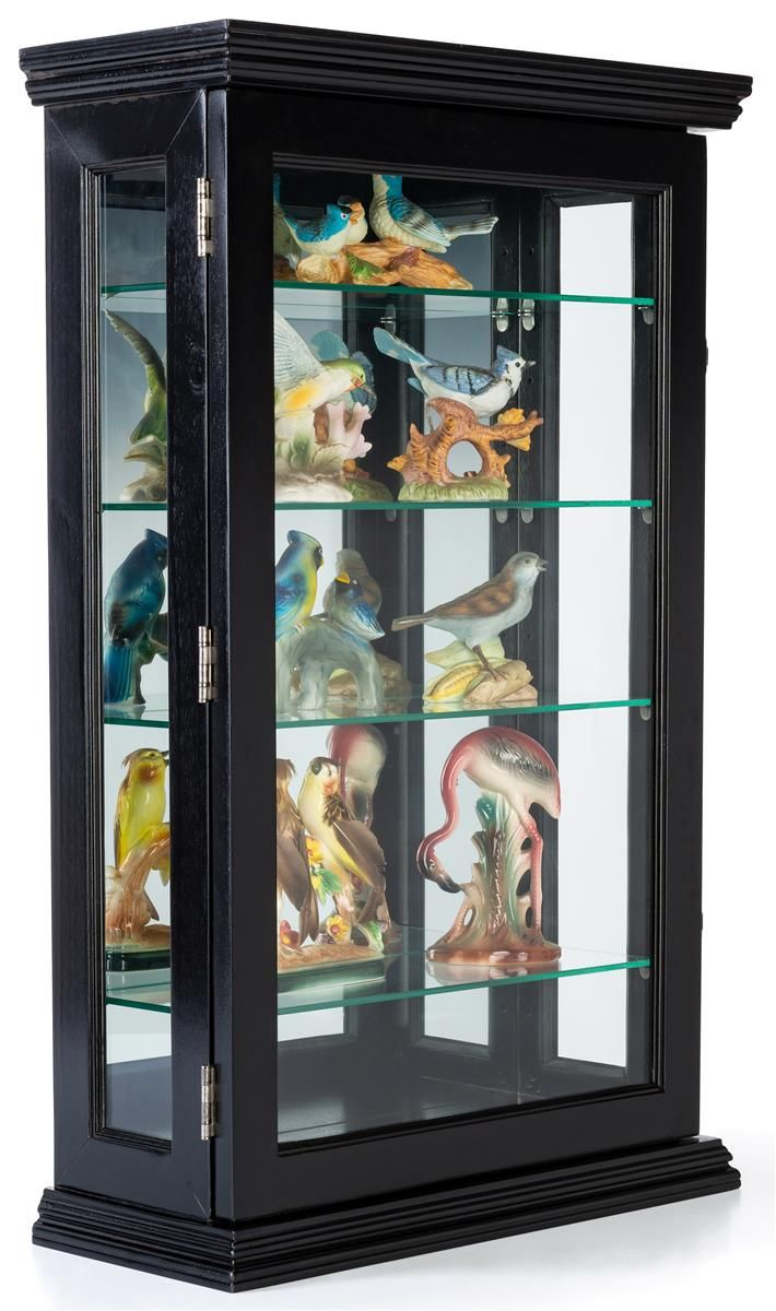 Wall Or Counter Curio Cabinet W Mirror Back Adjustable Shelves Locking Black Wall Display Cabinet Black Walls Adjustable Shelving