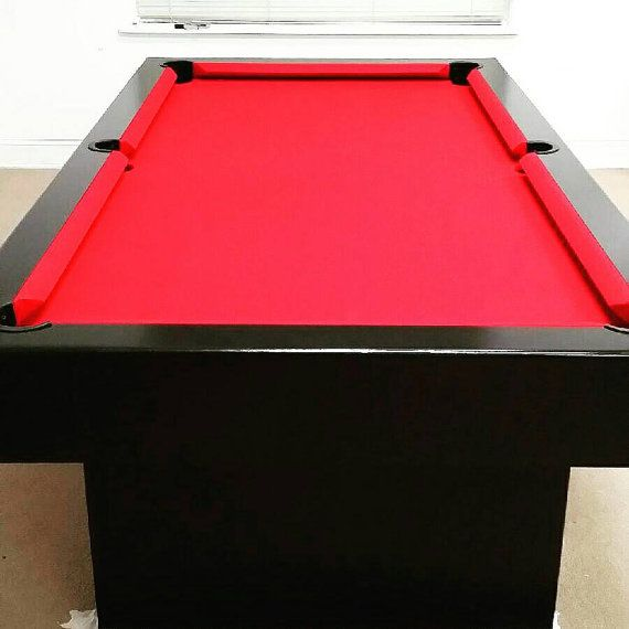 8ft Pool Table with a dinning top finished with a Black Onyx paint, and Red Teflon felt. (Non-Slate ) Contemporary modern designed pooltable custom made to order. (All sales are final).
