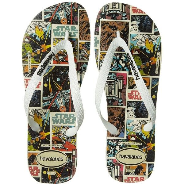 Havaianas Star Wars Flip Flops (White) Men's Sandals (34 CAD) ❤ liked on Polyvore featuring men's fashion, men's shoes, men's sandals, men's flip flops, mens leopard print shoes, mens sandals, mens rubber flip flops, mens shoes and mens white flip flops