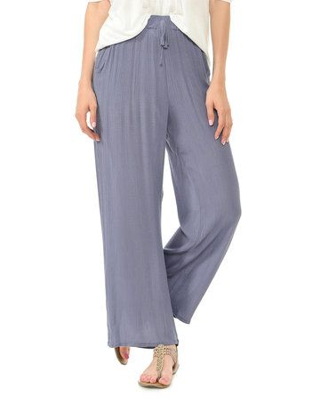 Love this Blue-Gray Drawstring Wide-Leg Pants on #zulily! #zulilyfinds