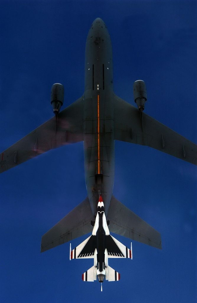 The coolest picture I've ever seen C-117 & Thunderbird (F-16) lining up for refueling