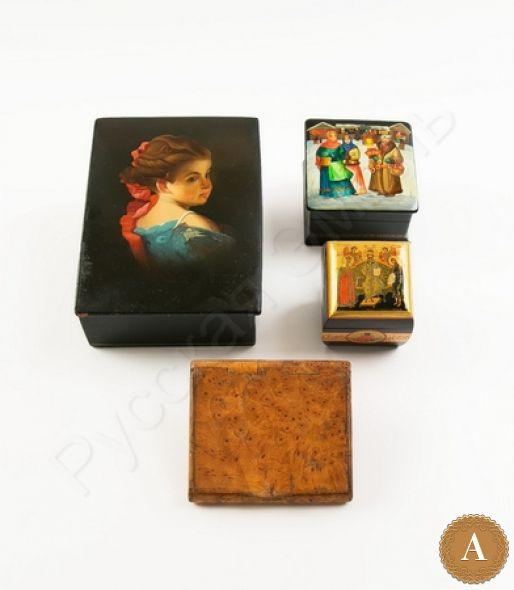 Три шкатулки и портсигар из карельской березы. Шкатулка «Царь Царем», шкатулка « Портрет девочки», шкатулка «Базар»
