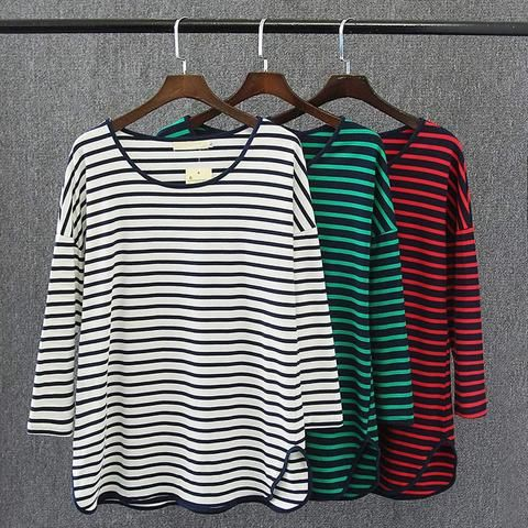 IDR 350,000=S47 Spring Casual Women T-shirts 4XL Plus Size Clothes Cotton Tops Fashion simple striped Tees 3249