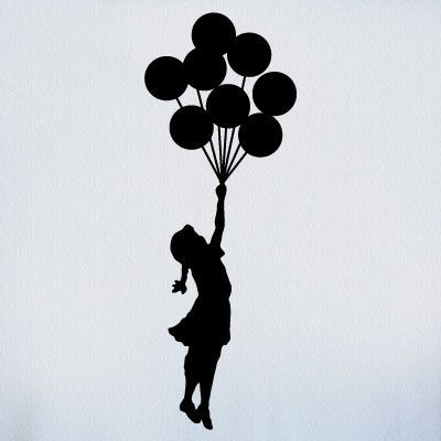 silhouette of girl with balloons being carried over the rainbow