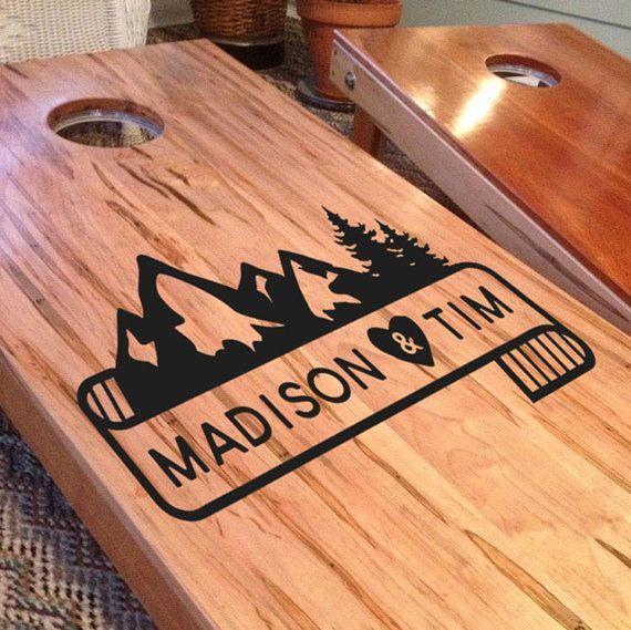 Wedding Cornhole Board Decals: Set of Two Custom Mountain by iinky