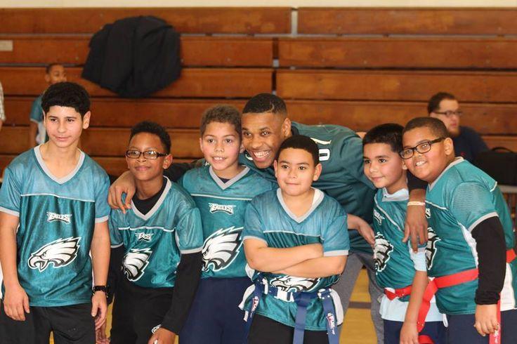 """#MVP360 Eagles #Flag #Football """"Mini-SuperBowl"""" at Aspira! And Yes that's #81 for the #Philadelphia #Eagles #Jordan #Matthews Quarterbacking for our kids! https://www.mvp360.org"""