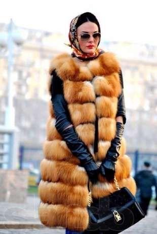 Жилетка меховая Роскошный длинный меховой жилет из лисы Киев - изображение 1