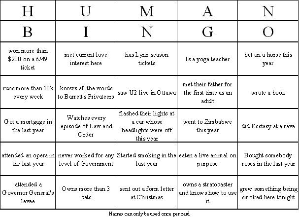 sample human bingo card