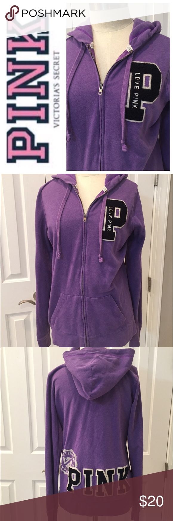 PINK Victoria's Secret Purple Zip Up Hoodie Medium So soft and comfy. PINK zip up hoodie has pockets in the front . Size Medium. Preowned and clean, check out my closet to save on bundles. PINK Victoria's Secret Tops Sweatshirts & Hoodies