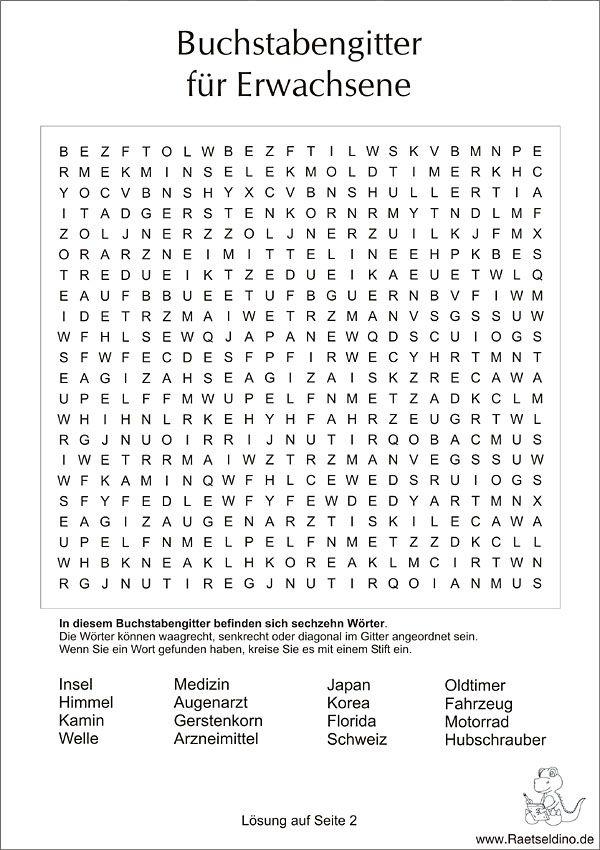 Buchstabengitter Für Erwachsene Einfach Schön Und Noch Unsortiert
