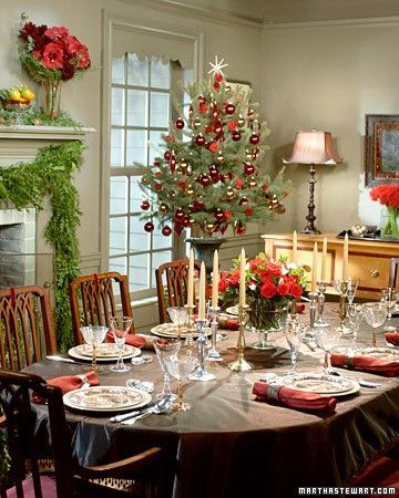 Should put Christmas Tree in corner of dinning room...  Top 100 Christmas TableDecorations - Christmas Decorating -