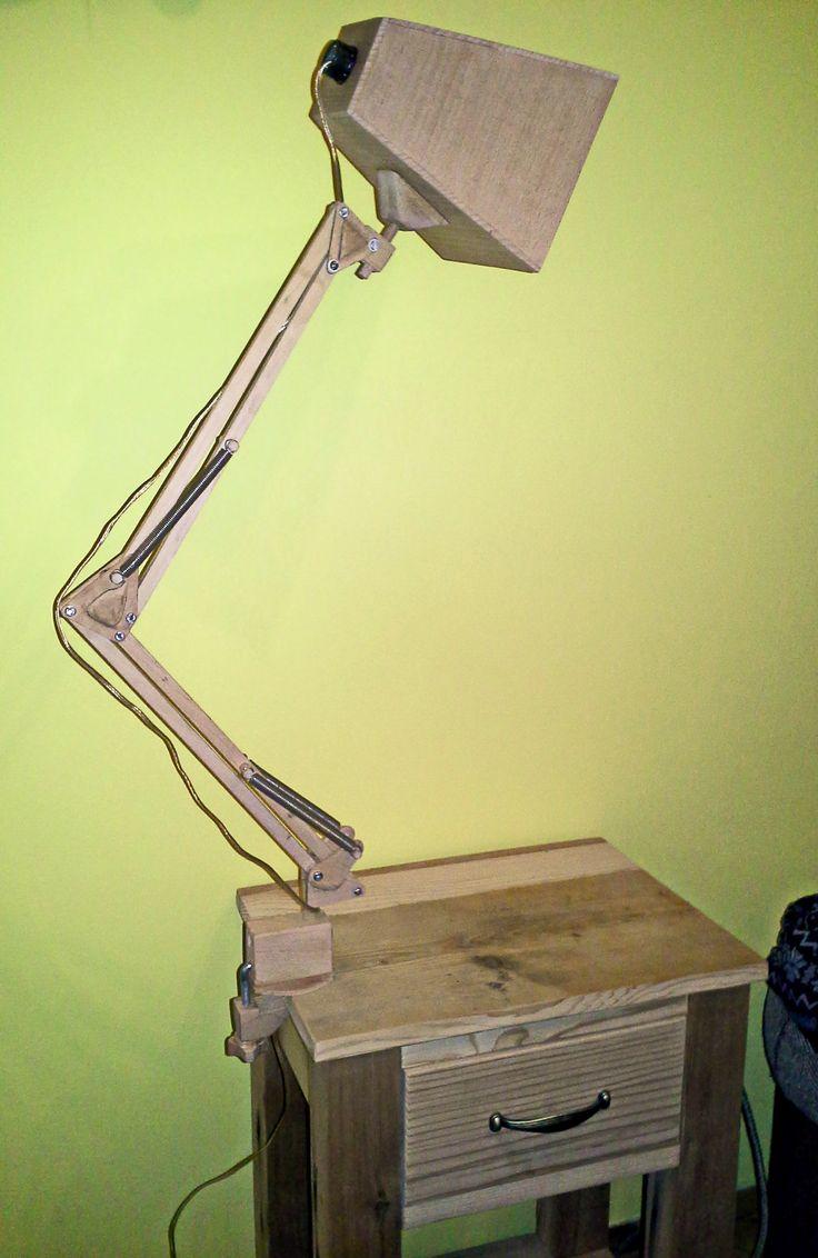 Wooden anglepoise desk lamp