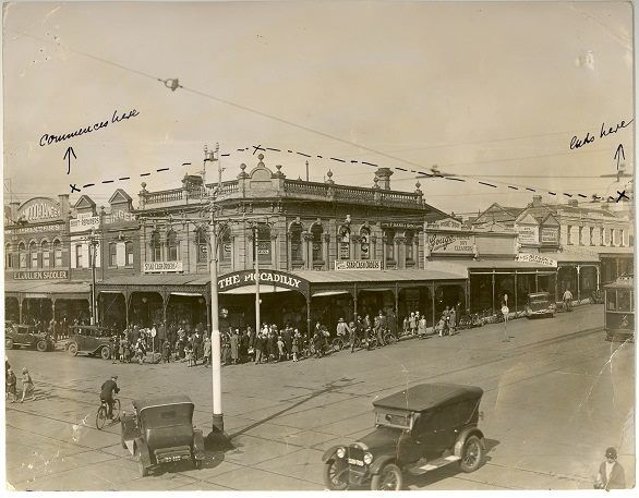 Corner of Ryrie st. and Moorabool st. looking south, 1920s.