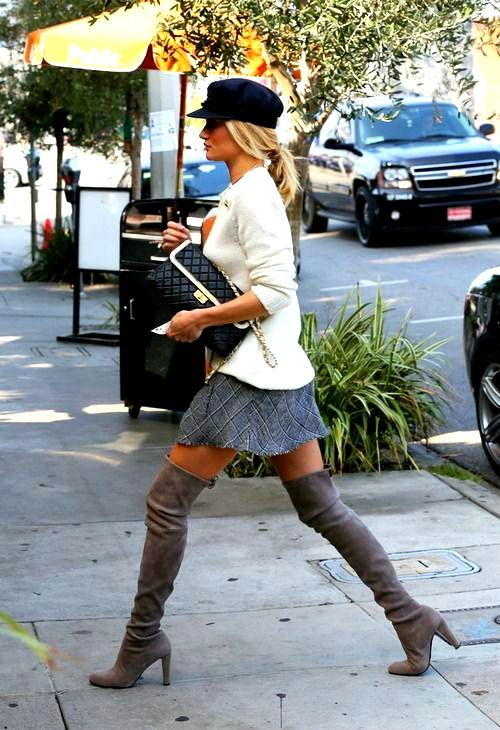 Rosie Huntington Whiteley 2013 fashon street style - Balmain sweater and Prada thigh high boots