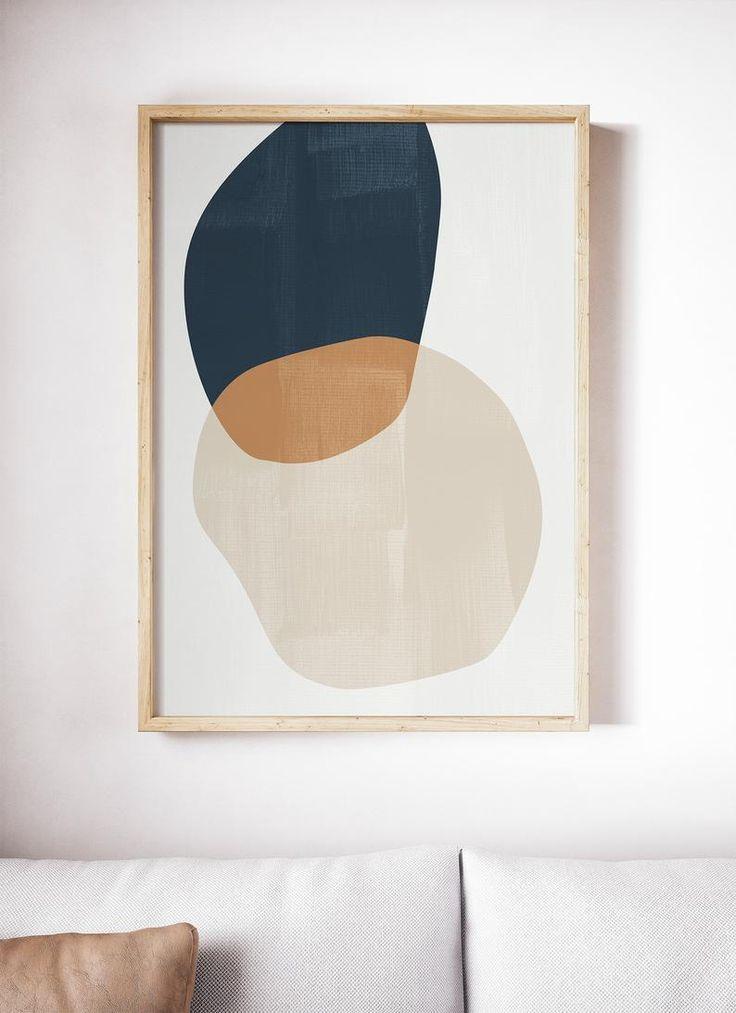 Mid Century Modern Art Prints, Abstract Art, Geometric Prints Set, Navy Wall Art Set, Abstract Prints, Shapes Print Set, Circle Modern Decor