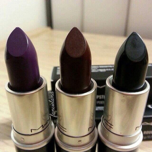 """My current favorite color by MAC is """"hang up"""". Its a really dark wine color with blueish undertones."""