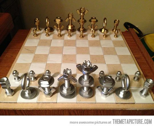 Cool chess set made out of nuts and bolts…