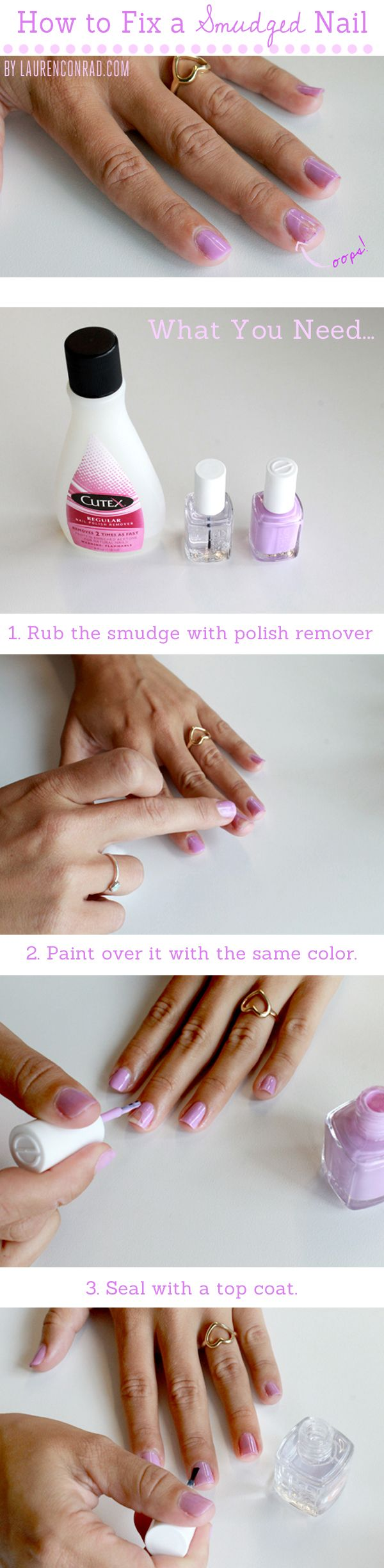 I need this! I can never do my nails without smudging them. 3 steps for fixing a smudged manicure
