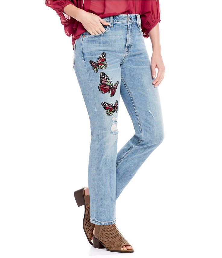 Lucky Brand Bridgette Slim Straight Leg Butterfly Embroidered Jeans #Dillards