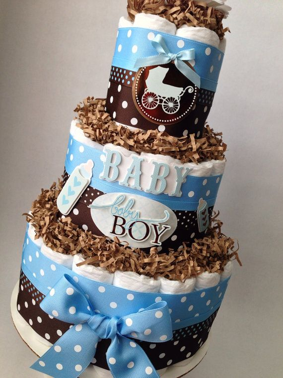 Blue and Brown Boy Diaper Cake for Baby by MrsHeckelDiaperCakes