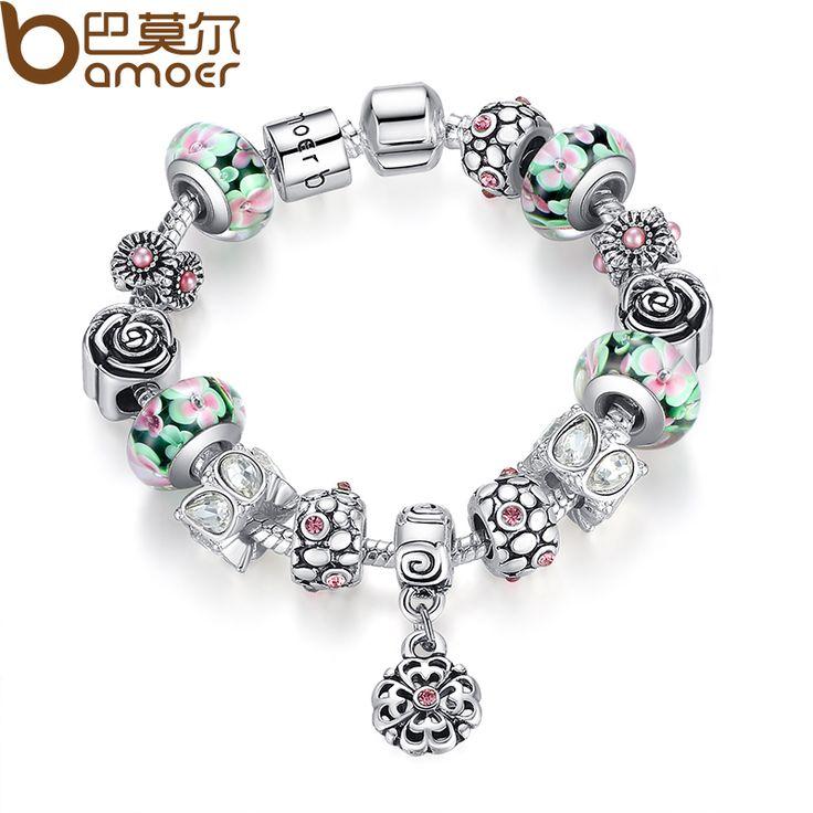 BAMOER Authentic Silver Strand Bracelet with Colorful Glass Beads Flower Bracelet for Women Bracelet Jewelry PA1875