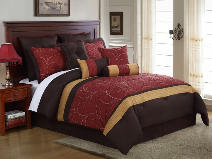 14 Piece Queen Lambert Burgundy And Gold Embroidered Bed