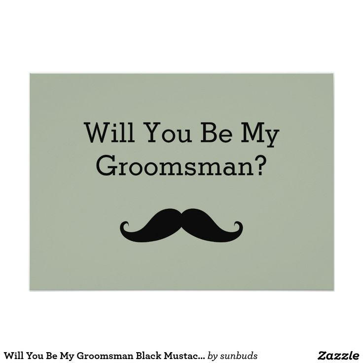 Will You Be My Groomsman Black Mustache 5x7 Paper Invitation Card