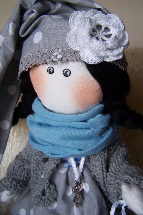 Charming elf girl mascot for a goodnight. Pretty doll made of high quality cotton dressed in handmade beautiful clothes.