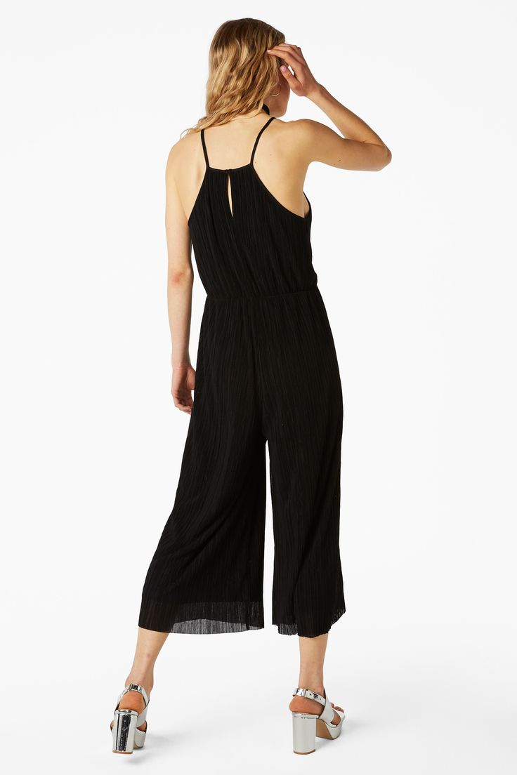 Monki Image 3 of Strappy pleated jumpsuit in Black
